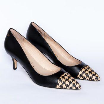 Zapatos Salón Negro Martinelli Pata de Gallo perfil