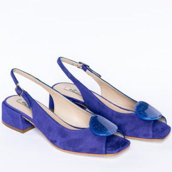 Sandalias Salón Destalonadas EZZIO Azul Klein perfil
