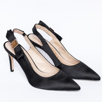 Zapatos Salón Negro Martinelli Lazo Raso Negro perfil