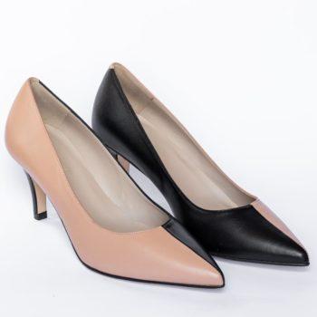 Zapatos Salón EZZIO Camel Negro 5520 perfil