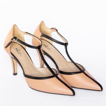 Zapatos Salón Tiras EZZIO Camel Negro 5507 perfil