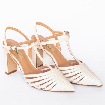 Zapatos Salón Destalonado EZZIO Blanco Multi Tiras 44615 perfil
