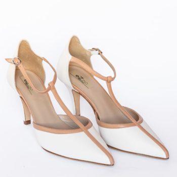 Zapatos Salón Tiras EZZIO Camel Blanco 5507 perfil