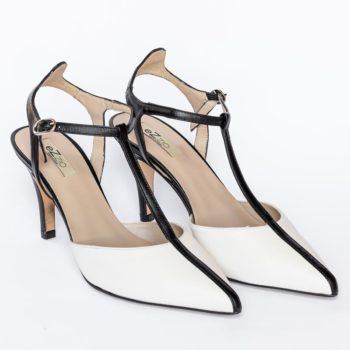 Zapatos Salón Tiras EZZIO Blanco Negro 5506 perfil