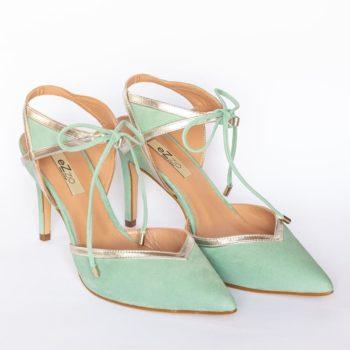 Zapatos Tacón Alto EZZIO Ante Verde 44603