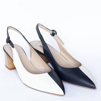 Zapatos Salón Destalonado EZZIO Blanco Marino 5621 perfil