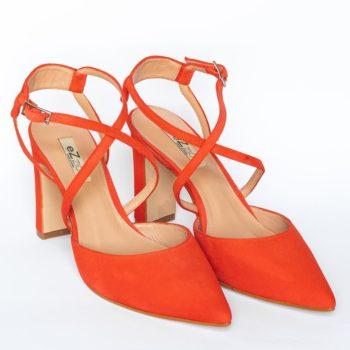 Zapatos Tacón Alto EZZIO Ante Naranja 44666 perfil