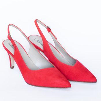 Zapatos Salón EZZIO Tacón Alto Ante Rojo 5523 perfil