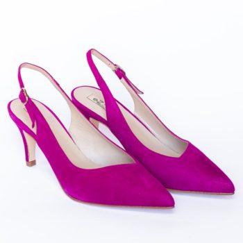 Zapatos Salón EZZIO Tacón Alto Ante Fucsia 5523 perfil