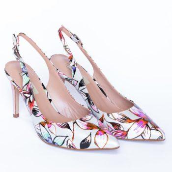Zapatos Salón EZZIO Tacón Alto Estampado Flores 44620 perfil