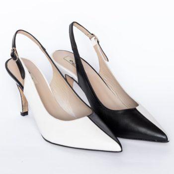 Zapatos Salón Destalonado EZZIO Blanco Negro 5521 perfil