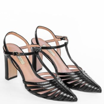 Zapatos Salón Destalonado EZZIO Negro Multi Tiras 44615 perfil
