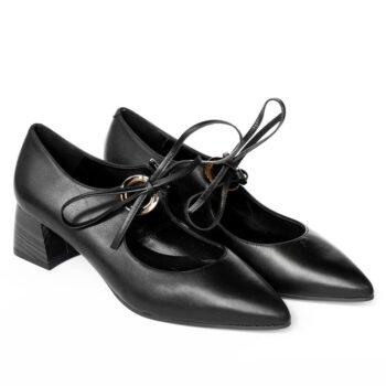 Zapatos Salón DIBIA Napa Negra Tacón Medio 6077 de Mujer perfil