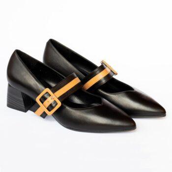 Zapatos Salón EZZIO DIBIA Napa Negra Tacón Medio 6081 perfil