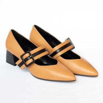 Zapatos Salón EZZIO DIBIA Napa Camel Tacón Medio 6081 perfil