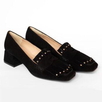 Zapatos Mocasín EZZIO Dibia Negro Tacón Medio 6176 perfil