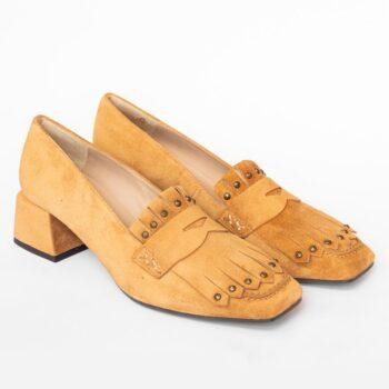 Zapatos Mocasín EZZIO Dibia Camel Tacón Medio 6176 perfil