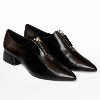 Zapato Abotinado DIBIA Napa Negro Tacón Medio 6106 de Mujer perfil