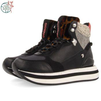 Botines Sneakers de Mujer GiosEppo 64408 Aurland Negros perfil